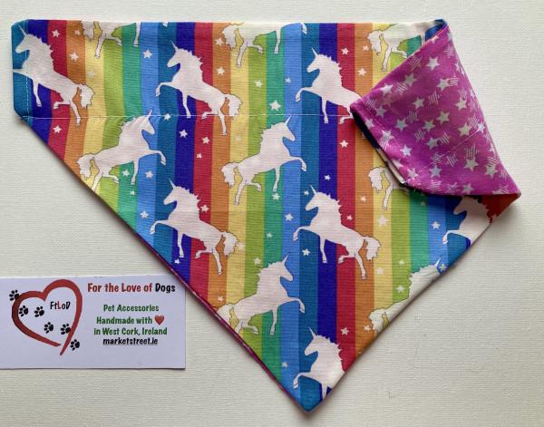 Reversible Dog Bandana - Unicorns and Rainbows / Stars - IMG 6107 scaled