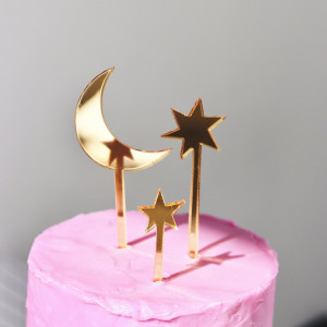 Moon and Stars Cake Topper - Set of 3