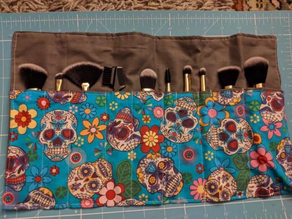 Blue Sugar skulls Make-up Brush Roll Ups
