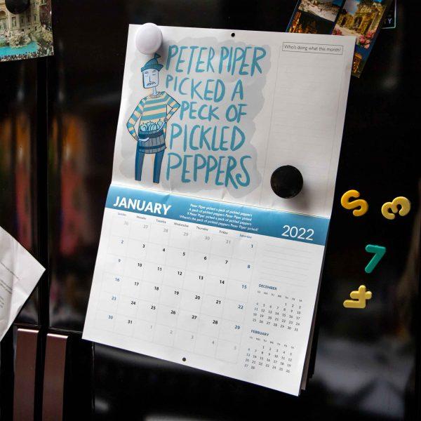 2022 Calendar Twelve Tongue Twisters for Twenty Twenty Two - Peter piper picked a peck calendar