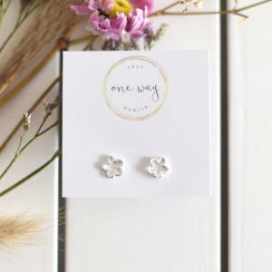 Flower Power Frosted Sterling Silver Stud Earrings