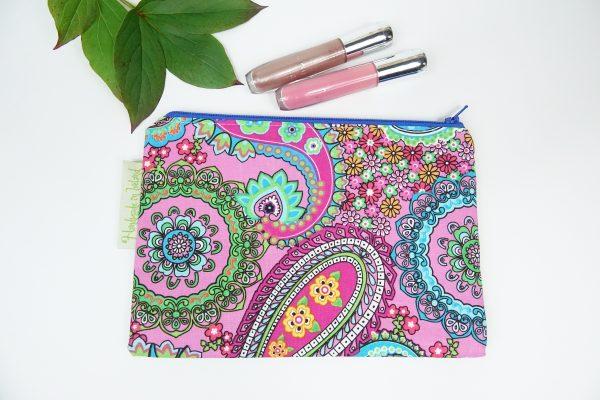 Pink Paisley Cotton Makeup Bag - RX302186 scaled