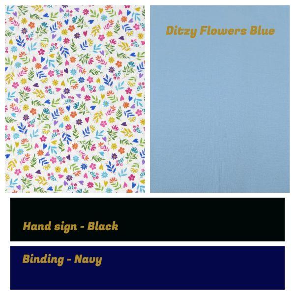 Irish Sign Language Personalised Name Bunting - SL Bunting Ditzy Flowers Blue