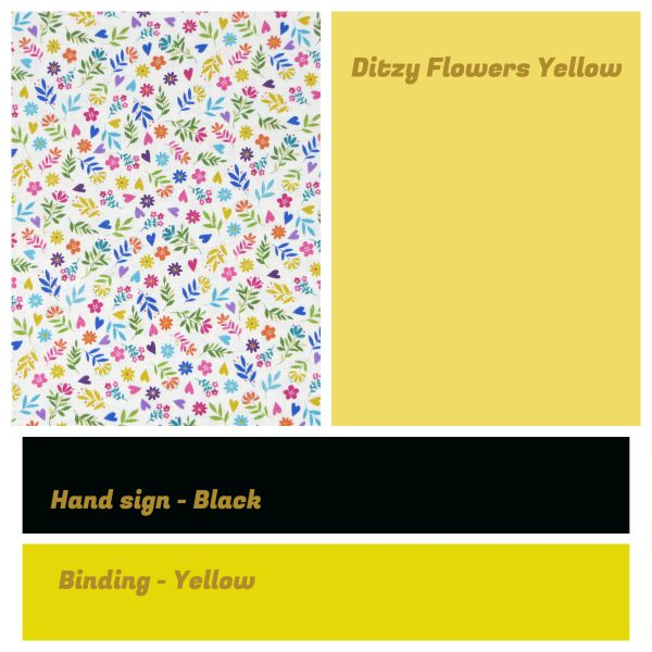 Irish Sign Language Personalised Name Bunting - SL Bunting Ditzy Flowers Yellow