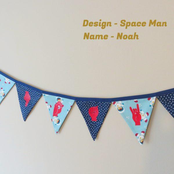 Irish Sign Language Personalised Name Bunting - SL Bunting Space Man Noah 1 scaled