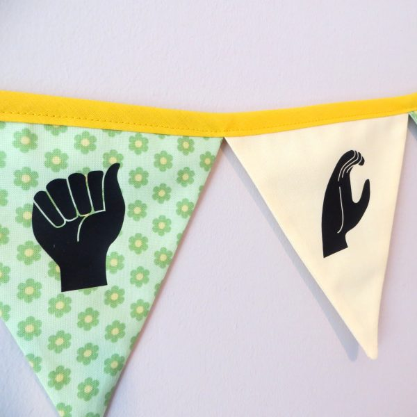 Irish Sign Language Personalised Name Bunting - SL Bunting Spring Flowers Grace 3 Square Close Up scaled