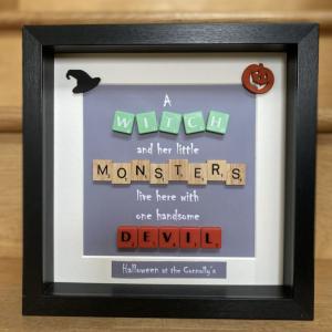 Halloween Family Scrabble Frame