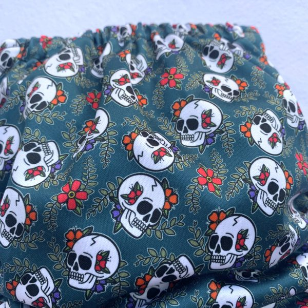 Sugar Skull Pocket Cloth Nappy - SugarSkulldetail 1 scaled