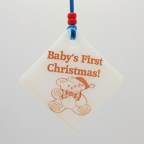 Fused-Glass Baby's First Christmas Decoration - white glass - baby first christmas boy