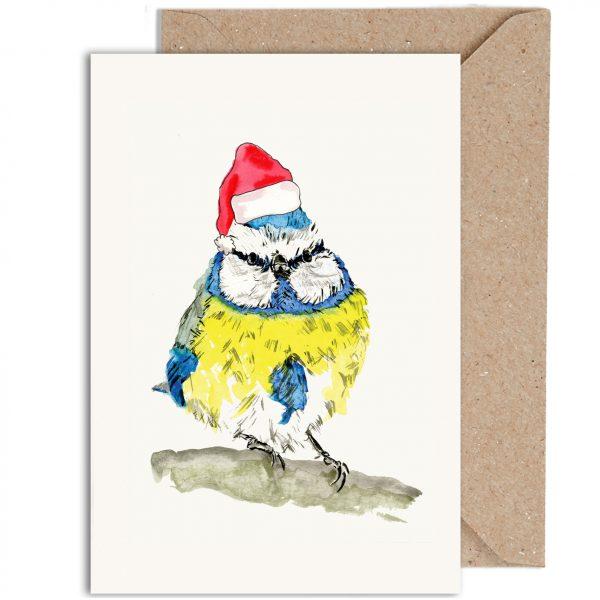 Blue Tit Christmas Card