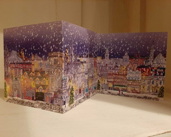Snowing over Dublin City Concertina Greeting Card - dublin snow 3 panel scaled
