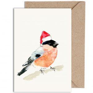 Christmas Bull Finch Card