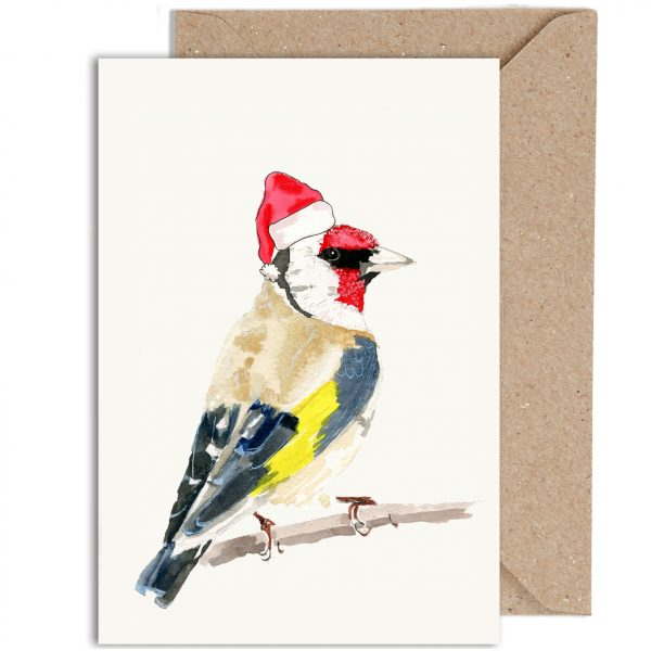 Gold Finch Christmas Card