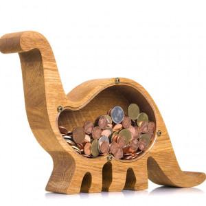 Handcrafted Wooden Dinosaur Piggy Bank