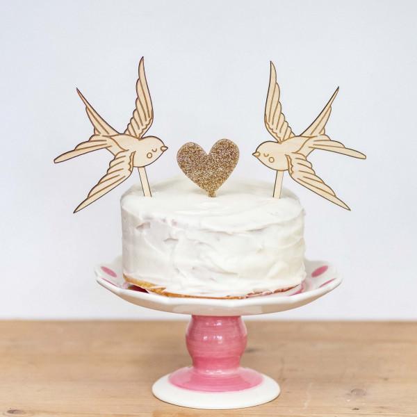 Love Birds Cake Topper - Set of 3 -