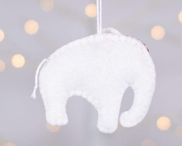 White Elephant Felt Ornament - white ele reverse scaled