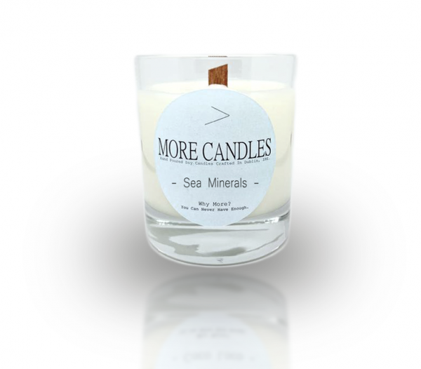 Sea Minerals Wood Wick Scented Natural Soy Candle - ww sea minerals