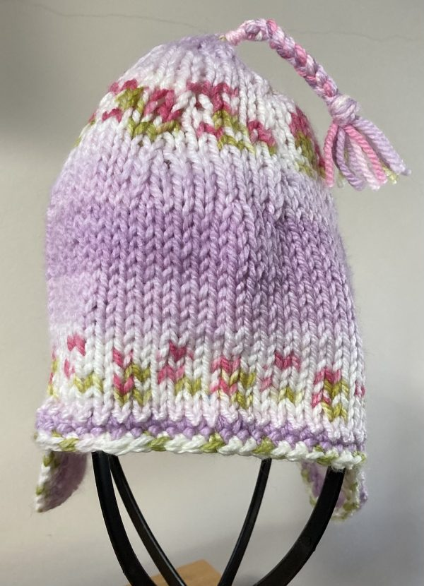 Adult Nordic-Style Knitted Hat Lavender Blossom