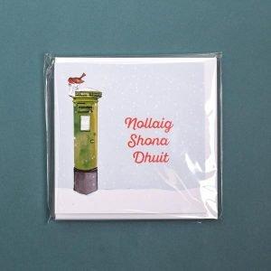 Pack of 6 Nollaig Shona Duit - Irish Postbox Christmas Card