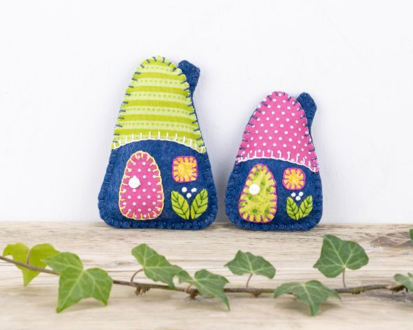 Little House Felt Ornaments Set (Blue Pink & Green) - 10th August 1863 scaled