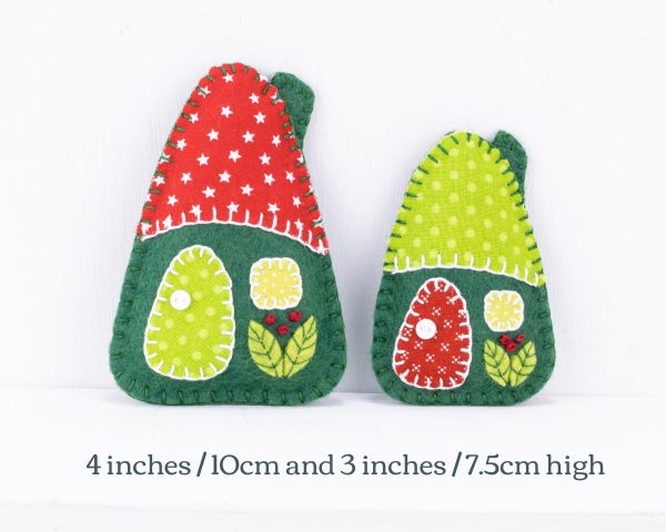 Little House Felt Ornaments Set (Red & Green) - 10th August 1869 text scaled