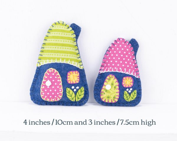 Little House Felt Ornaments Set (Blue Pink & Green) - 10th August 1870 text scaled