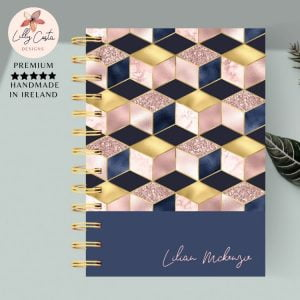 navy and pink geometric