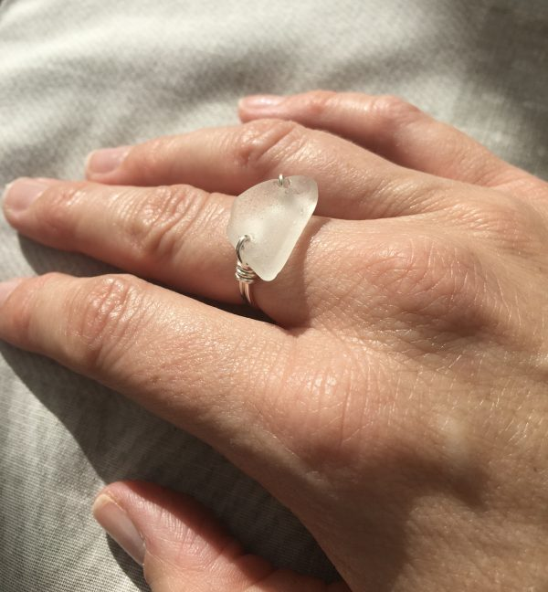 White Sea Glass Ring - 149F1899 6E80 46D5 BE93 CB04648A5F6E scaled