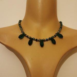 Green Crystal Fan Necklace