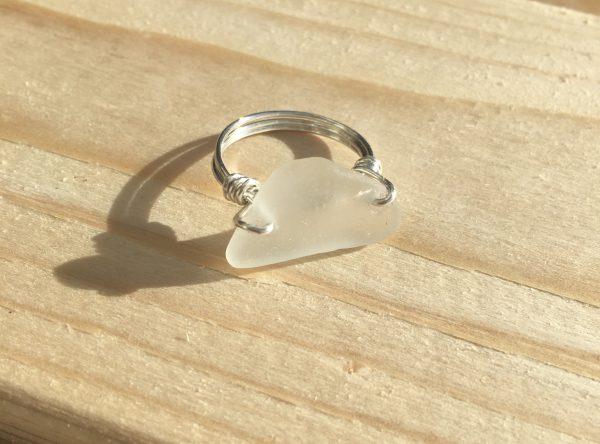 White Sea Glass Ring