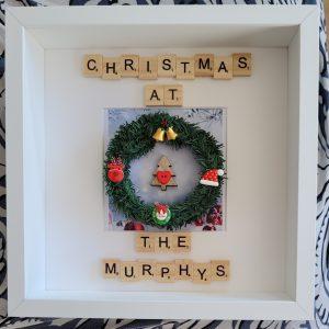 Christmas Wreath Family Frame