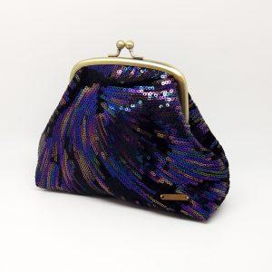 Sequin Black Velvet Clutch Bag