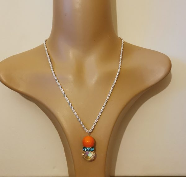 Orange Blue Sparkle Crystal Pendant