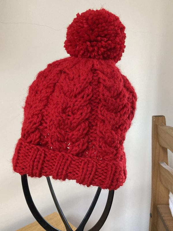Red Cabled Kids Knitted Hat - 2F4CC5D9 502A 4CCF 99FE C3F44C2C4699 scaled