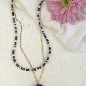 Blue & Gold Double Necklace