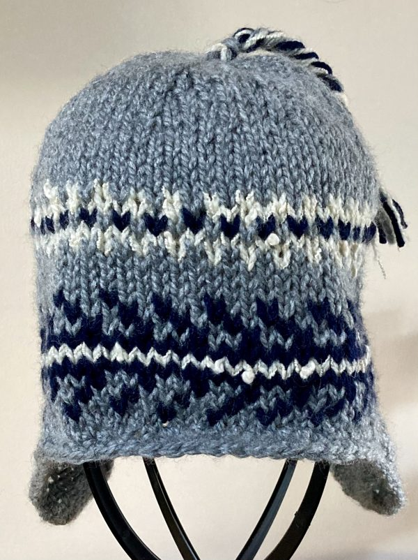 Adult Nordic-Style Knitted Hat - Grey, Navy, Ivory