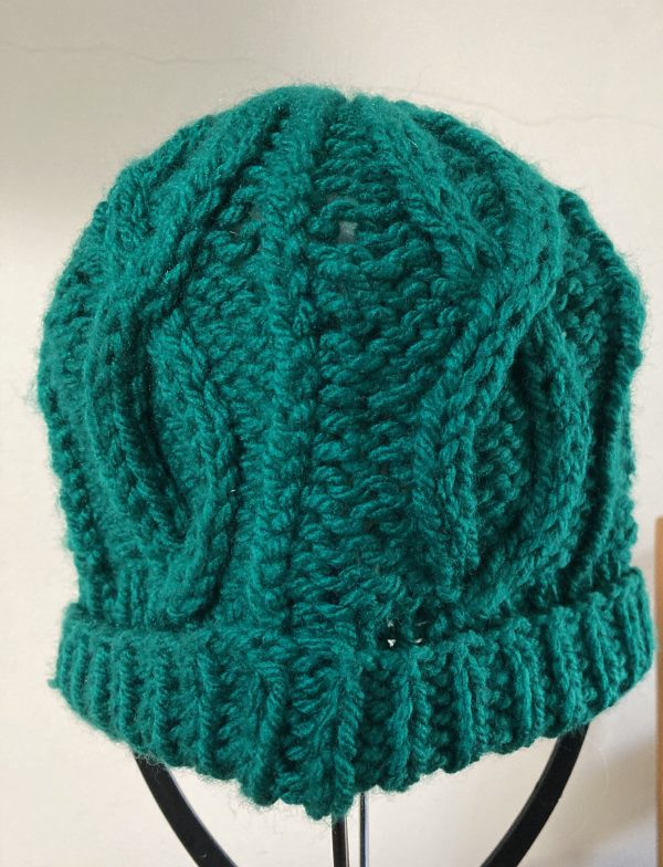 Adult Knitted Hat - Emerald Green Cables - A1B147D2 D10A 4DF6 9A83 2B5D9AE4DD90 scaled
