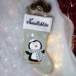 Grey Penguin Christmas Stocking