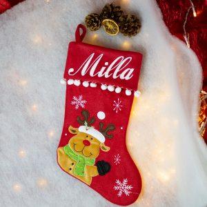 Red Pom Pom Christmas Stocking Rudolph Design
