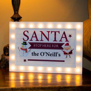 Santa Stop Here Light Sign