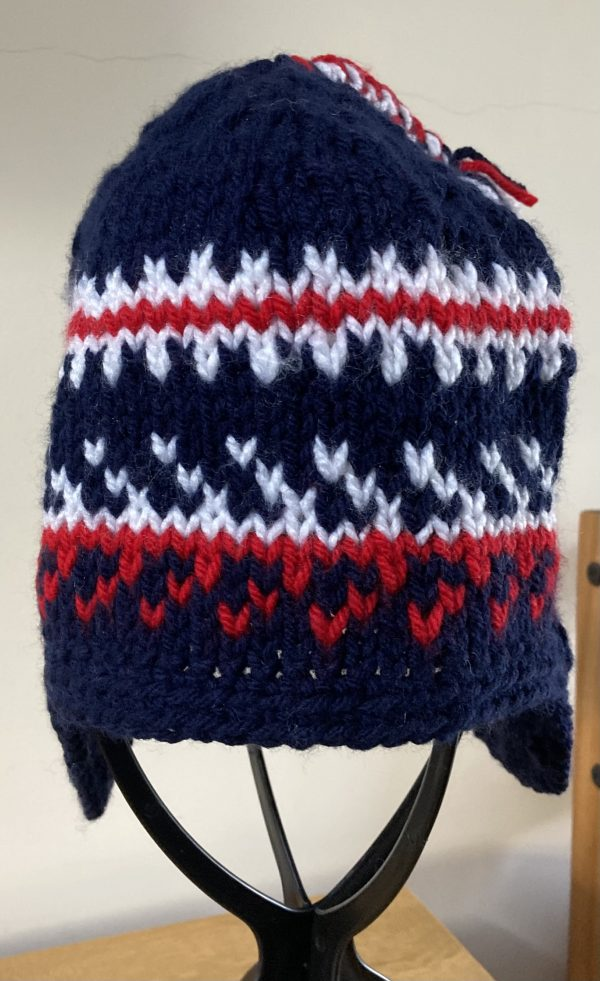 Adult Nordic-Style Knitted Hat - Navy, Red and White - DA3A9CC0 FA88 4DE3 8B0E CAACF5534224 scaled