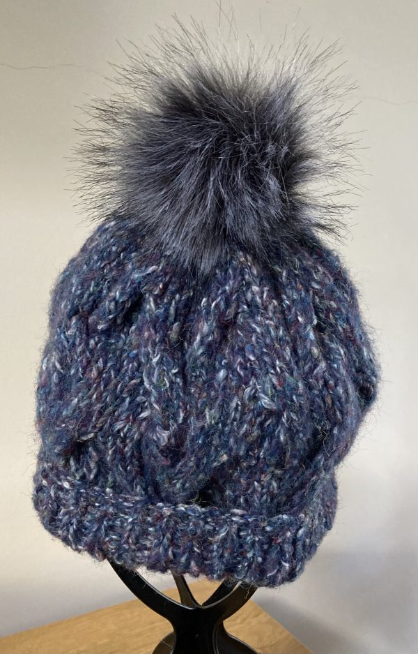 Adult Knitted Hat - Blue Tweed with Cables
