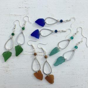 Sea Glass Droplet Earrings