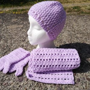 Lilac Hat Scarf & Mittens Set