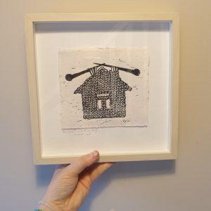 Framed Lino Print - I Do Everything Around Here