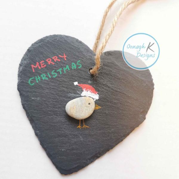 Santa Hat Birdie Slate Heart