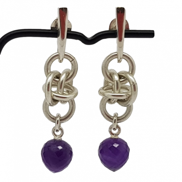 Handmade modern Sterling silver chainmail and faceted amethyst acorn drop earrings