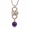 Handmade modern Sterling silver chainmail and faceted amethyst acorn drop necklace