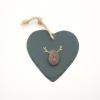 Rudolph Reindeer Christmas Slate Heart