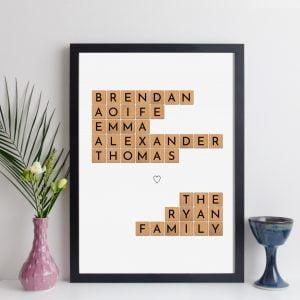 Personalised Scrabble Family Names Print
